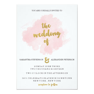 Gold and Blush Wedding Invitation
