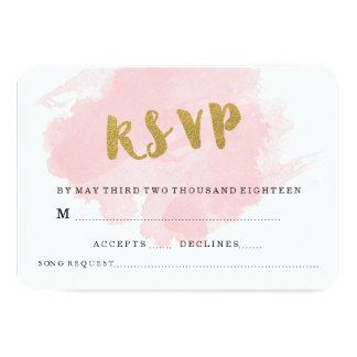GOLD AND BLUSH WEDDING RSVP 9 CM X 13 CM INVITATION CARD