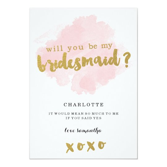 gold and blush will you be my bridesmaid invitation zazzle co uk