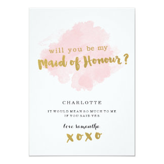 Gold and Blush Will You Be My Maid of Honour? 13 Cm X 18 Cm Invitation Card
