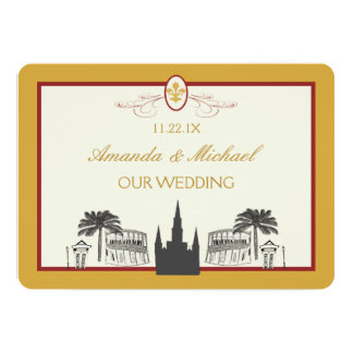 Gold and Bordeaux New Orleans Scenes Save the Date Invites