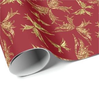 Gold And Burgundy Abstract Butterflies Gift Wrap Paper