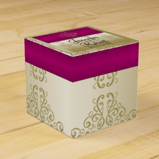 Gold and Burgundy Damask Posh Wedding Favour Box
