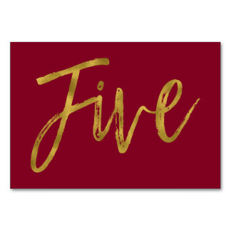 Gold and Burgundy Elegant Table Number Five