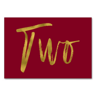 Gold and Burgundy Elegant Table Number Two