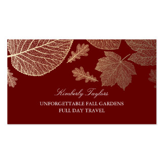 Gold and Burgundy Fall Leaves Elegant Pack Of Standard Business Cards