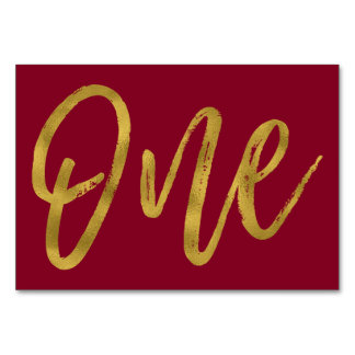 Gold and Burgundy Marsala Elegant Table Number One