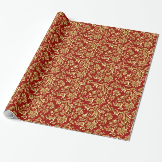 Gold And Burgundy Red Vinage Damasks Wrapping Paper