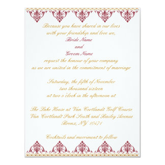 Gold and Burgundy Wedding Invitation