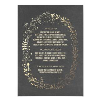 Gold and Chalkboard Floral Wreath Wedding Details 11 Cm X 16 Cm Invitation Card
