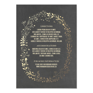 Gold and Chalkboard Floral Wreath Wedding Details Card