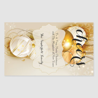 Gold and Champagne Christmas Wine Bottle Label