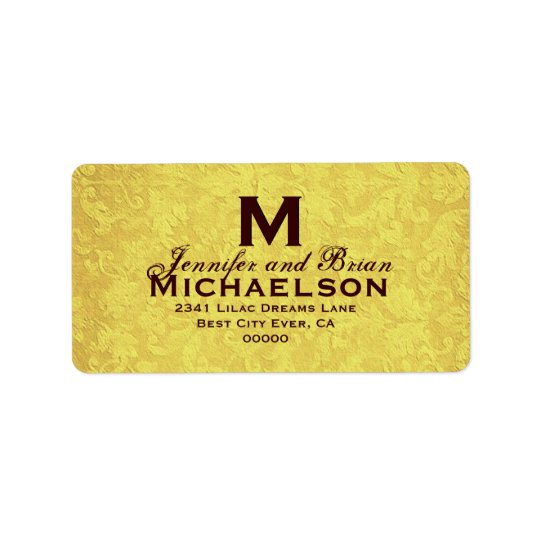 Gold and Chocolate Vintage Wedding Custom Monogram Address Label