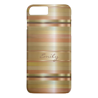 Gold And Copper Stripes With Monogram iPhone 8 Plus/7 Plus Case