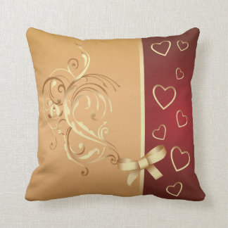 Gold and Cranberry Hearts American MoJo Pillow Throw Cushions