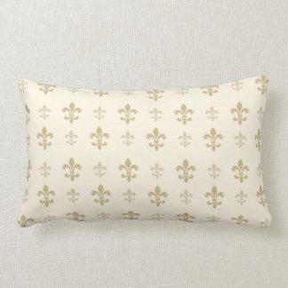Gold and Cream Elegant Fleur de Lis Throw Pillow