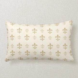 Gold and Cream Elegant Fleur de Lis Lumbar Cushion
