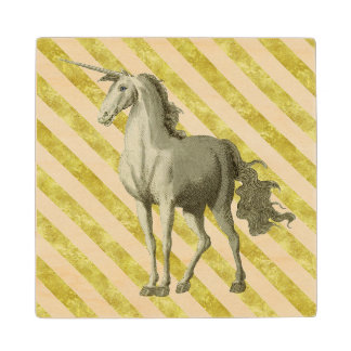Gold and Cream Stripe Vintage Unicorn Coaster