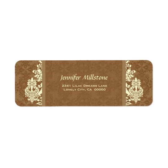 GOLD and CREAM Swirl Damask Wedding Address Label