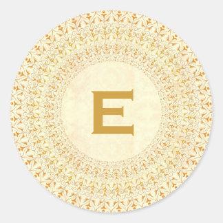 Gold and Cream Vintage Curlicue Monogram V27 Classic Round Sticker