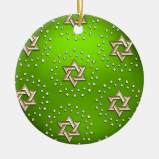 Gold and Crystal Star of David Green Hanukkah Round Ceramic Decoration