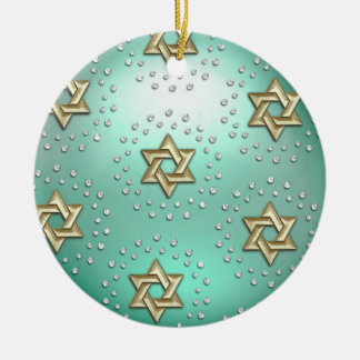 Gold and Crystal Star of David Hanukkah Ornament