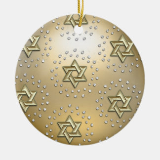 Gold and Crystal Star of David Hanukkah Ornament