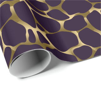 Gold And Deep Purple Abstract Leopard Pattern Wrapping Paper