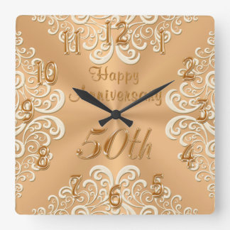 Gold and Ecru Happy 50th Wedding Anniversary Clock