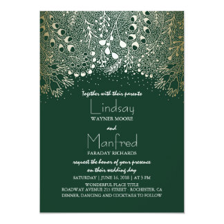 Gold and Emerald Green Enchanted Woodland Wedding Card