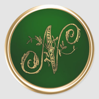 Gold and Emerald Monogram N Envelope Seal Round Stickers