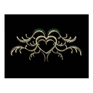 Gold and Emerald Wedding Heart Announcement Postcard