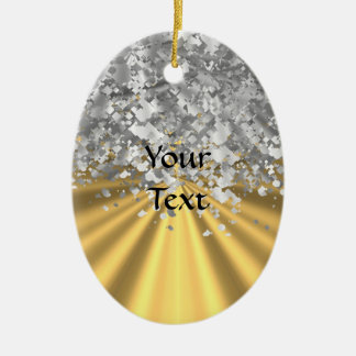 Gold and faux glitter personalized christmas ornament