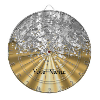 Gold and faux glitter personalized dartboard