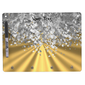 Gold and faux glitter personalized dry erase board with key ring holder