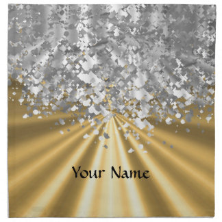 Gold and faux glitter personalized napkin