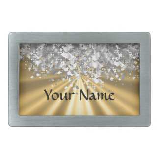 Gold and faux glitter personalized rectangular belt buckle