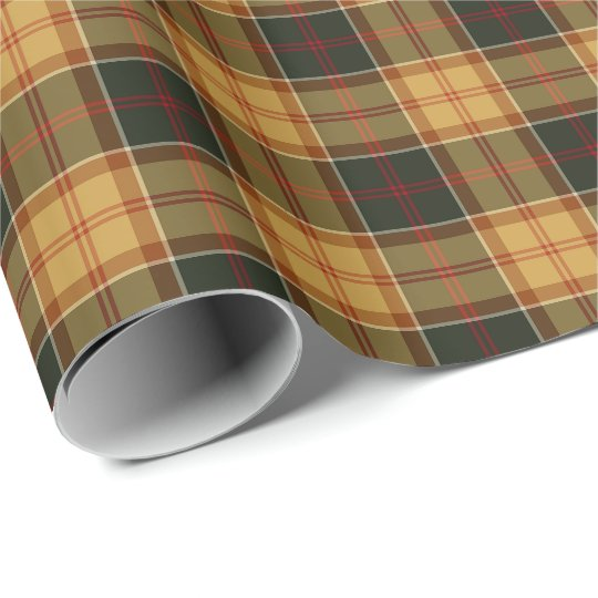 Gold and Forest Green Rustic Plaid Pattern Wrapping Paper