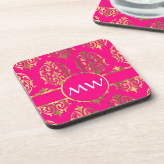 Gold and fuchsia pink damask coaster