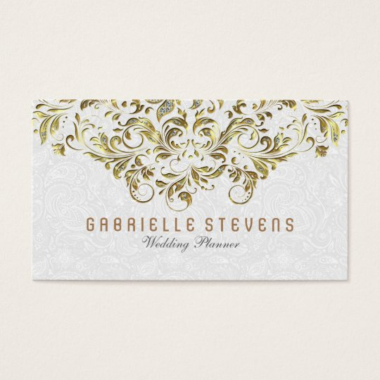 Gold And Glitter Floral Lace Over White Business