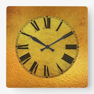 Gold and Gold Foil Effect Square Wall Clock