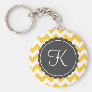 Gold and Gray Zig Zag Custom Initial Key Ring