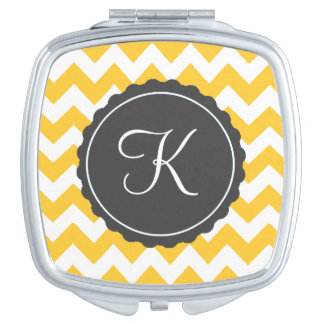 Gold and Gray Zig Zag Custom Initial Makeup Mirrors