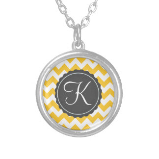 Gold and Gray Zig Zag Custom Initial Silver Plated Necklace
