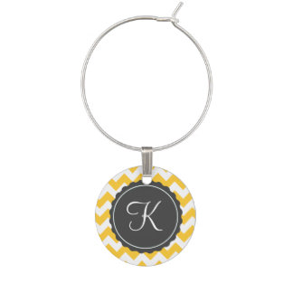 Gold and Gray Zig Zag Custom Initial Wine Charm