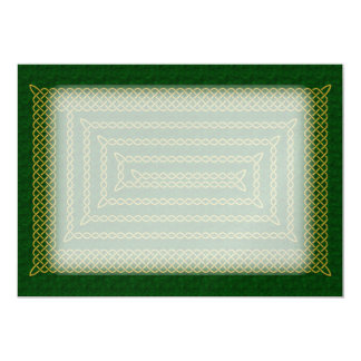 Gold And Green Celtic Rectangular Spiral 13 Cm X 18 Cm Invitation Card