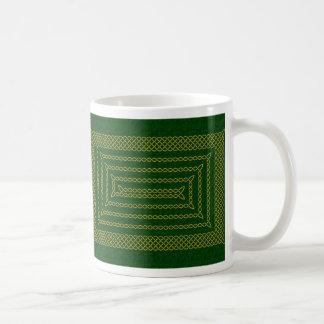 Gold And Green Celtic Rectangular Spiral Basic White Mug