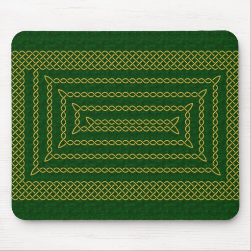 Gold And Green Celtic Rectangular Spiral Mouse Pad
