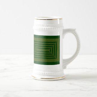Gold And Green Celtic Rectangular Spiral Mugs
