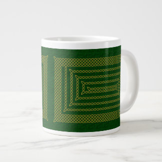 Gold And Green Celtic Rectangular Spiral Extra Large Mugs